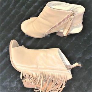 ADRIANA NY 'Leanna' Nude Fringe Peep-Toe Booties